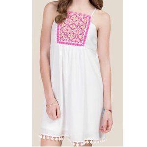 Francesca's MIAMI White Boho Embroidered Dress~XS